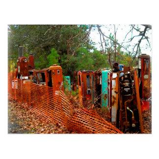 Vintage Kram-Yard-Gas-Pumpen Postkarte
