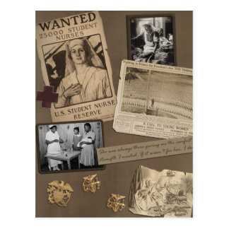 """Vintage """"Krankenpflege-"""" Einklebebuch-Postkarte Postkarte"""