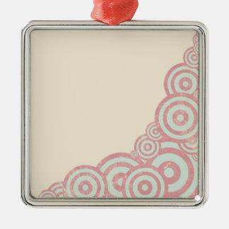 Vintage Kreise Quadratisches Silberfarbenes Ornament