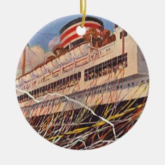 Vintage Kreuzfahrt-Schiffs-Ferien; Reise-Party! Keramik Ornament