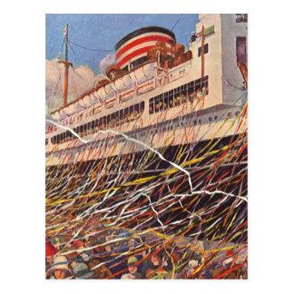 Vintage Kreuzfahrt-Schiffs-Ferien; Reise-Party! Postkarte