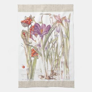 Vintage Krokus-Iris-Blumen-Küchen-Tücher Küchentuch