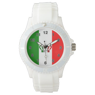 Vintage Kronen-moderne Italien-Italiener-Flagge Uhr
