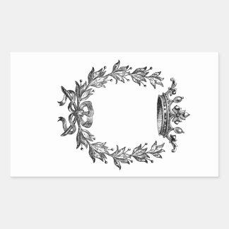 Vintage Kronen-und Wreath-Kunst Rechteckiger Aufkleber