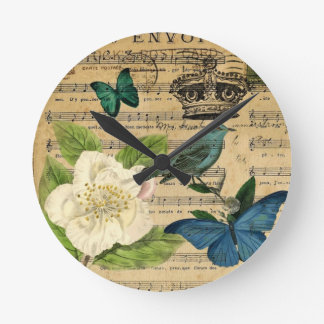Vintage Kronenvogel Musiknoten-Weiß Rose Runde Wanduhr