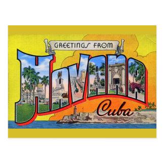 Vintage Kuba-Reise - Grüße von Havana Postkarte