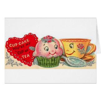 Vintage Kuchen-und Teacupvalentines Tageskarte Grußkarte