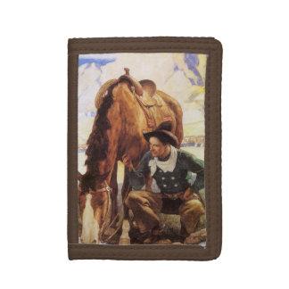 Vintage Kunst, Cowboy, der sein Pferd durch NC