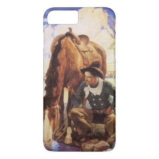 Vintage Kunst, Cowboy, der sein Pferd durch NC iPhone 8 Plus/7 Plus Hülle