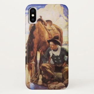Vintage Kunst, Cowboy, der sein Pferd durch NC iPhone X Hülle