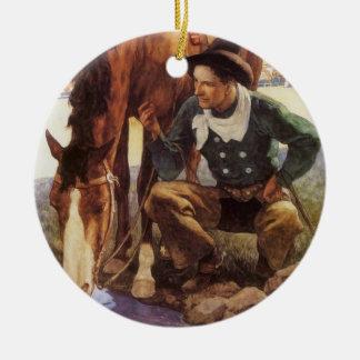 Vintage Kunst, Cowboy, der sein Pferd durch NC Keramik Ornament