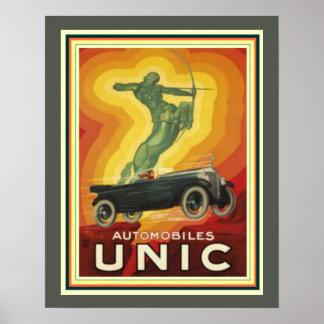 Vintage Kunst-Deko-Anzeige für Unic Automobile 16 Poster