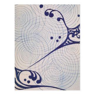 Vintage Kunst-Deko-Blau-Wellen Postkarte