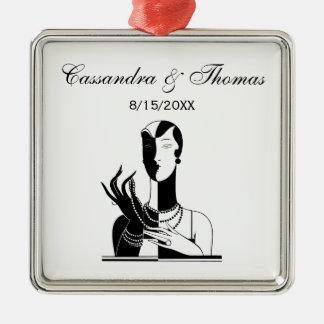 Vintage Kunst-Deko-Dame With Pearls Black Transp Silbernes Ornament