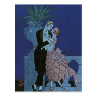 Vintage Kunst-Deko-Jungvermählten, Oui durch Postkarte