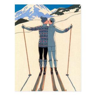 Vintage Kunst-Deko-Liebe-Kuss-Skis Save the Date! Postkarte
