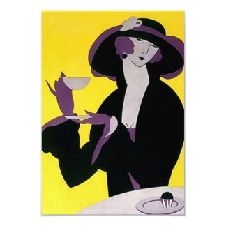Vintage Kunst-Deko-Tee-Einladungs-hoher Nachmittag 8,9 X 12,7 Cm Einladungskarte
