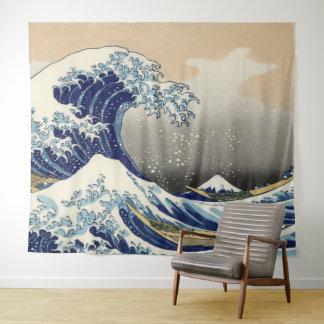 Vintage Kunst die große Welle weg von Kanagawa Wandteppich