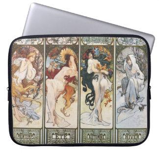 Vintage Kunst durch Laptop-Hülse Alphonse Mucha Laptop Schutzhülle