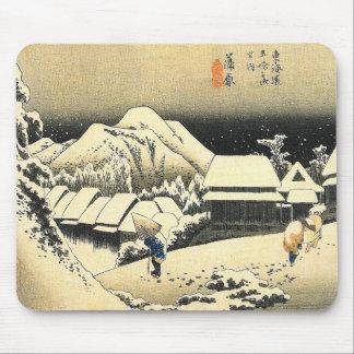 Vintage Kunst Hiroshige Japan Schnee-Szene Mauspad