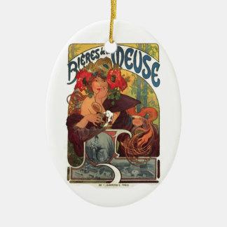 Vintage Kunst Nouveau Alphonse Mucha Ovales Keramik Ornament