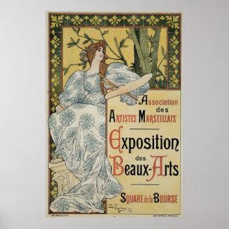 Vintage Kunst nouveau Ausstellung feiner Künste Poster
