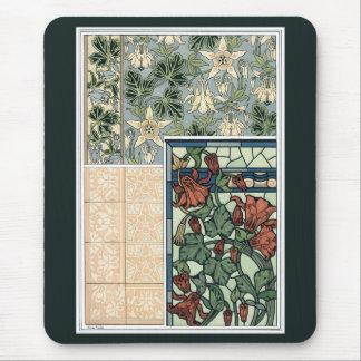 Vintage Kunst Nouveau, Blumen Columbines Aquilegia Mousepad