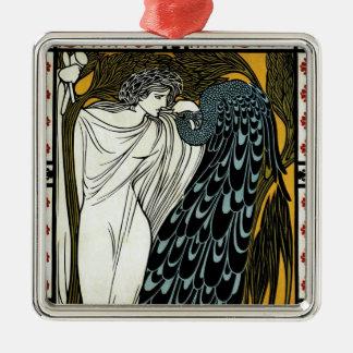 Vintage Kunst Nouveau dieser Kuss, Frau mit Pfau Silbernes Ornament