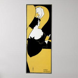 Vintage Kunst Nouveau, Frau, die ein gelbes Buch Poster