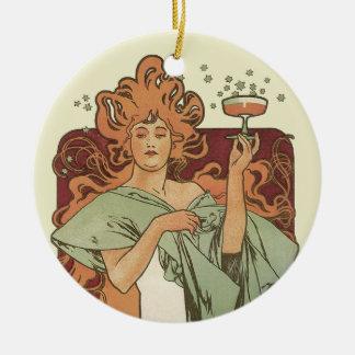Vintage Kunst Nouveau, Frauen-Champagne-Party Keramik Ornament