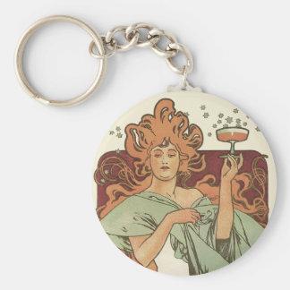 Vintage Kunst Nouveau, Frauen-Champagne-Party Schlüsselanhänger