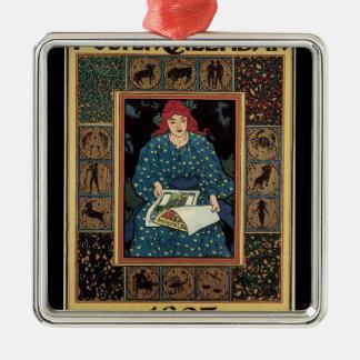 Vintage Kunst Nouveau, Frauen-Leseastrologie-Buch Silbernes Ornament