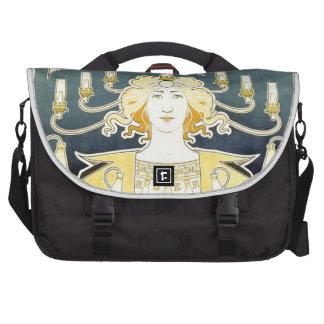 Vintage Kunst Nouveau Gas-Licht-Dame Notebook Tasche