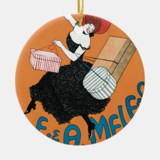 Vintage Kunst Nouveau, italienische Frauen-Mode Rundes Keramik Ornament