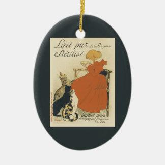Vintage Kunst Nouveau, junges Mädchen, das Katzen Keramik Ornament