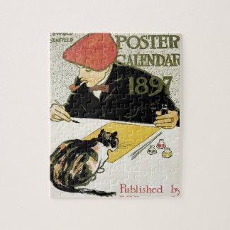 Vintage Kunst Nouveau, Künstler-Malerei mit Puzzle
