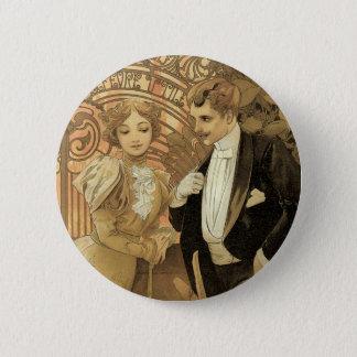 Vintage Kunst Nouveau Liebe Romance, Flirt durch Runder Button 5,1 Cm