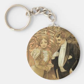 Vintage Kunst Nouveau Liebe Romance, Flirt durch Schlüsselanhänger