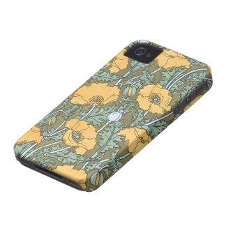 Vintage Kunst Nouveau, Mohnblumen-Blumen im Garten iPhone 4 Hüllen