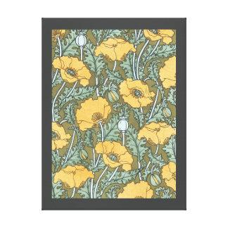 Vintage Kunst Nouveau, Mohnblumen-Blumen im Garten Leinwanddruck