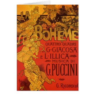 Vintage Kunst Nouveau Musik, La Boheme Oper, 1896 Karte