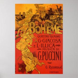 Vintage Kunst Nouveau Musik; La Boheme Oper, 1896 Posterdrucke