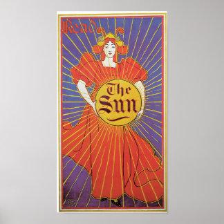 Vintage Kunst Nouveau New York Sun Anzeige Poster