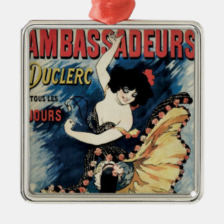 Vintage Kunst Nouveau, spanischer Flamenco-Tänzer Silbernes Ornament