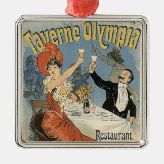 Vintage Kunst Nouveau, Taverne Olympia-Restaurant Quadratisches Silberfarbenes Ornament