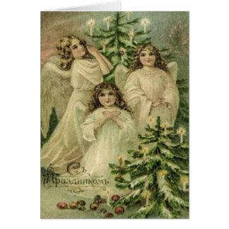 Vintage Kunst-russische Weihnachtsengel Karte