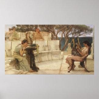 Vintage Kunst, Sappho und Alcaeus durch Alma Poster
