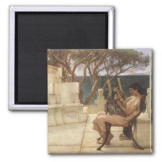Vintage Kunst, Sappho und Alcaeus durch Alma Quadratischer Magnet