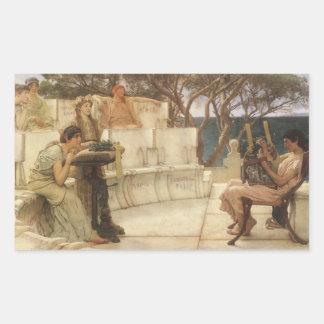Vintage Kunst, Sappho und Alcaeus durch Alma Rechteckiger Aufkleber
