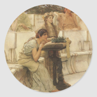 Vintage Kunst, Sappho und Alcaeus durch Alma Runder Aufkleber